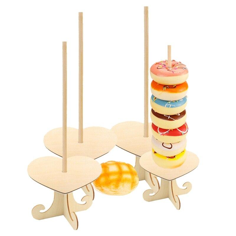 4 Uds. Expositor de madera para Donuts, dulces, dulces, decoración de cumpleaños bodas, suministros de baño para bebé