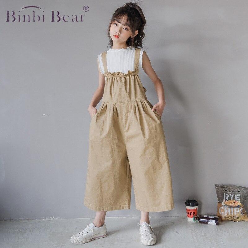 الصيف الفتيات طفل الملابس مجموعة الكورية في سن المراهقة لطيف جديد سترة غير رسمية وزرة واسعة الساق موضة الأطفال قطعتين دعوى سروال ضيق