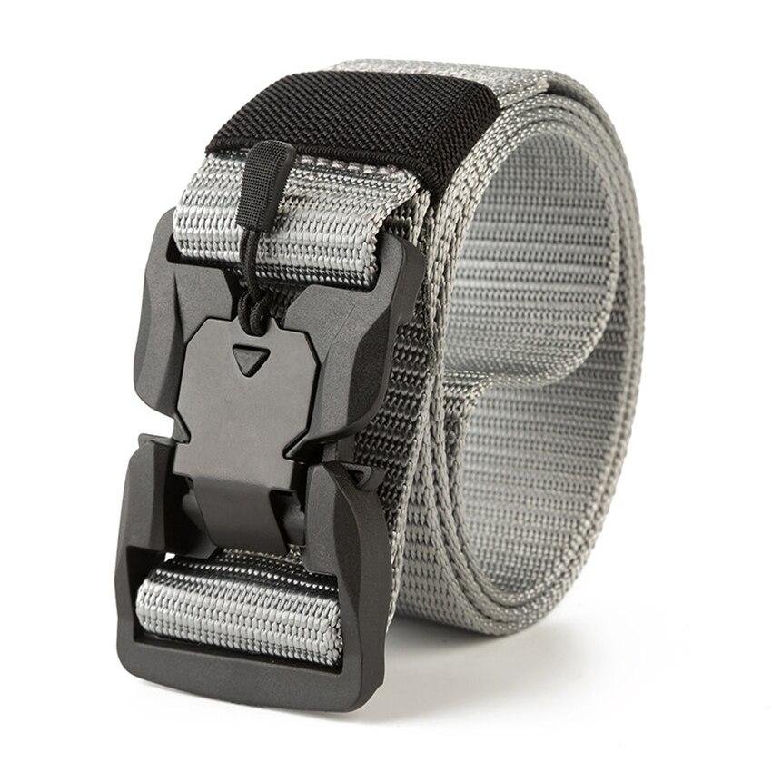 Hebilla magnética militar hombres cinturón táctico diseñador lona cinturones para pantalones correa de Nylon larga negro hombre cintura nueva tendencia