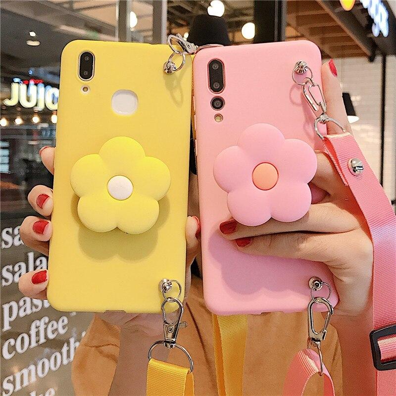 Schattige Kleine Bloem Telefoon Case Voor Iphone 11 Pro Max 6S 7 8 Plus Xr Xs Tpu Mobiele Telefoon lanyard Met Mobiele Telefoon Houder Shell