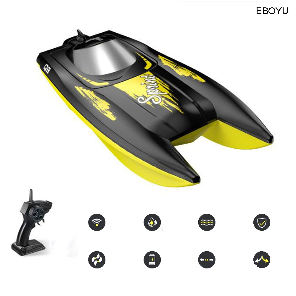 EBOYU Syma Q9 Remote Control Boat 2.4GHz 10km/h Speedboat Double Power Low Battery Reminder RC Boat