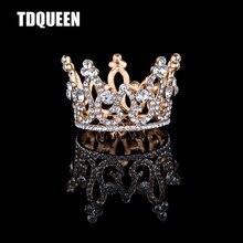 Tdqueen tiaras e coroas de ouro banhado a prata redonda cheia strass cristal bebê meninas christmans presente acessórios para o cabelo