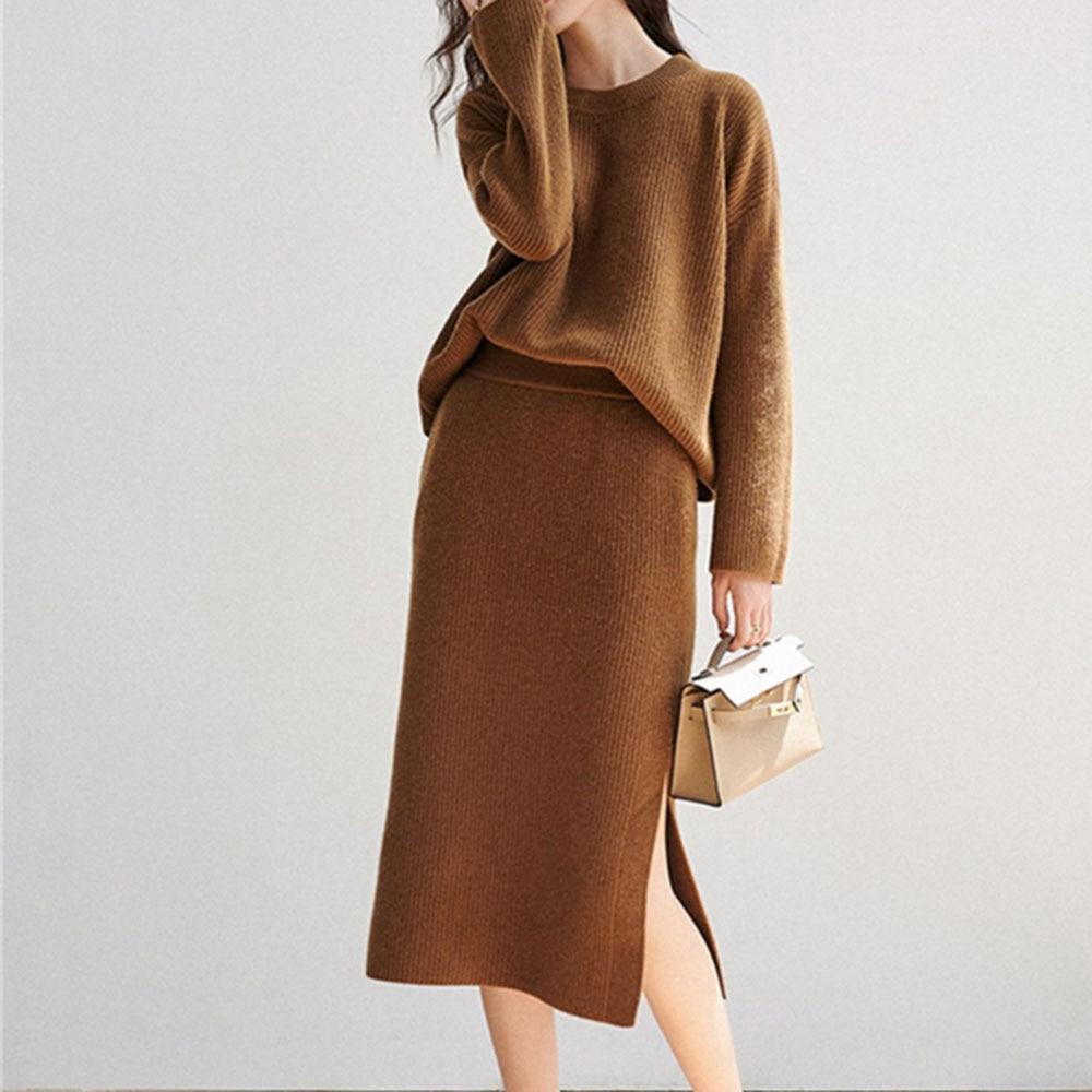 Осенний женский комплект одежды, Модный женский топ и юбка в Корейском стиле, комплект из двух предметов, элегантный женский костюм, простот...