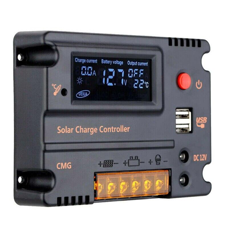 جهاز تحكم يعمل بالطاقة الشمسية 20A MPPT 12V ألواح الطاقة الشمسية المصنوعة من خلية فولطا ضوئية شاحن بطارية منظم شاشة الكريستال السائل