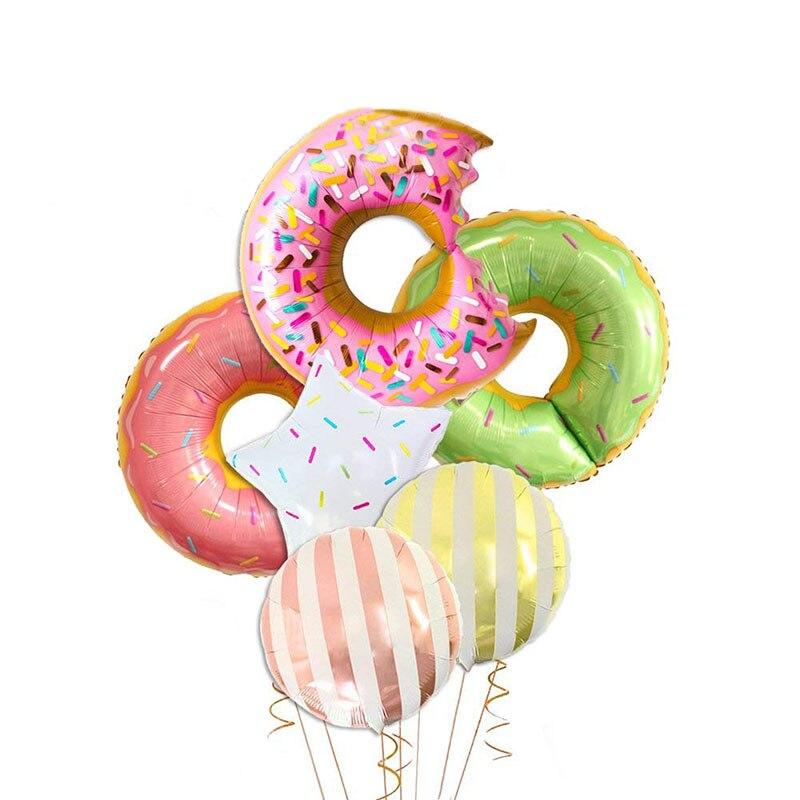 1 ud. De globos bonitos de papel de aluminio para comida de Donuts, helado, palomitas, globos, feliz cumpleaños, dulces juguetes para niños, decoración de baño de bebé DIY