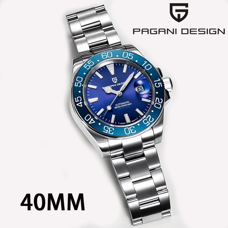PAGANI تصميم 2021 العلامة التجارية الأعلى التلقائي ساعة ميكانيكية رجال الأعمال الفولاذ المقاوم للصدأ مقاوم للماء ساعة زرقاء reloj hombre