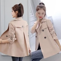 2020 women casual trench autumn windbreaker coats casual loose safari clothes fashion stand collar drawstring female trench coat