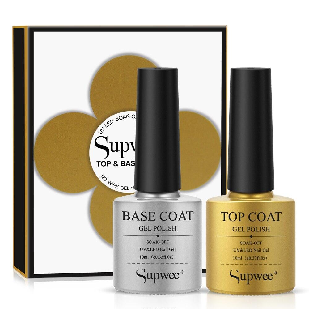 Supwee 10ml Base and Top Coat Set with Box Semi-permanent Nail Gel UVLED Lamp Soak Off Gel Top Coat No Wipe Type