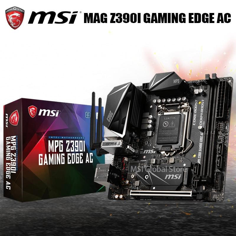 لوحة أم LGA 1151 MSI MPG Z390I لحافة الألعاب بالتيار المتردد إنتل Z390 DDR4 PCI-E 3.0 SATA3 سطح المكتب إنتل Z390 i9 i7 i5 i3 Mini-ITX جديد