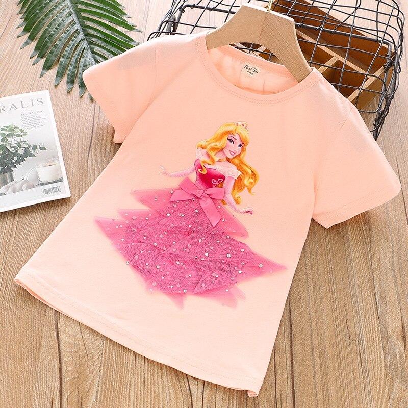 Cotton Tees Mesh T Shirt Summer Princess Kid Girls T-Shirt Sofia3D Applique Baby Birthday Party Tops Clothing Gift