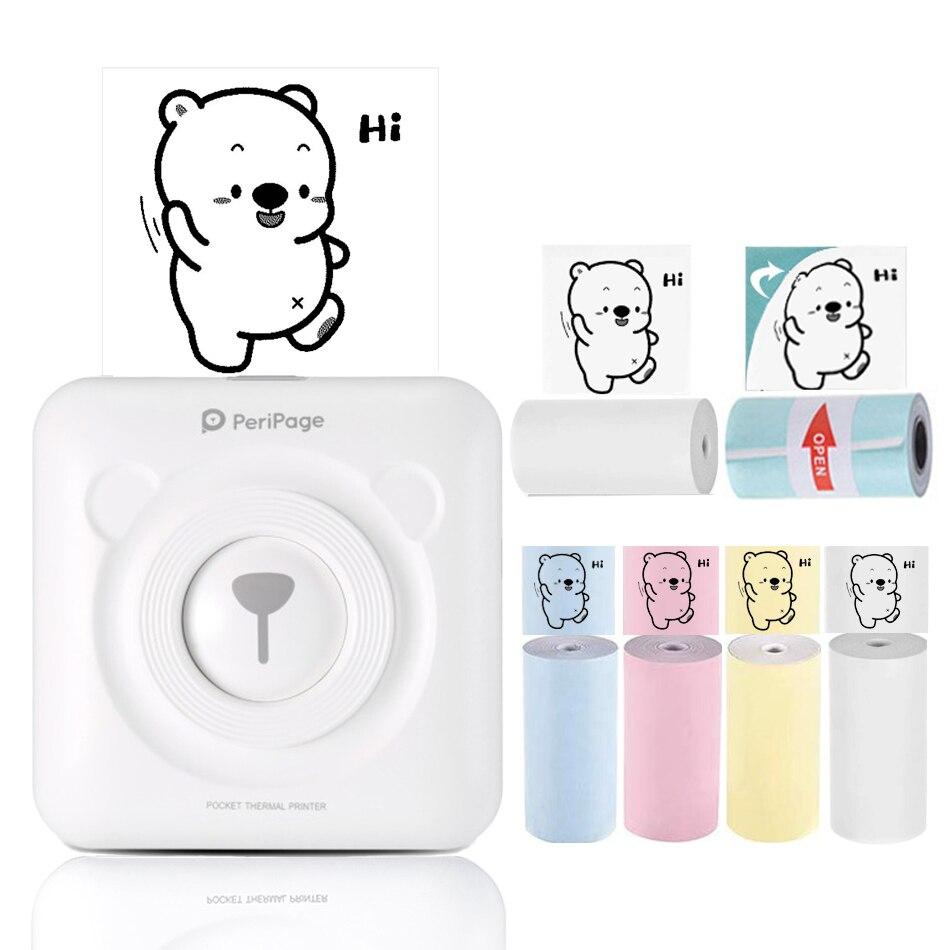 Mini impresora térmica portátil PeriPage, impresora de fotos de bolsillo, conexión Bluetooth con teléfono móvil Android iOS 58mm 203 DPI
