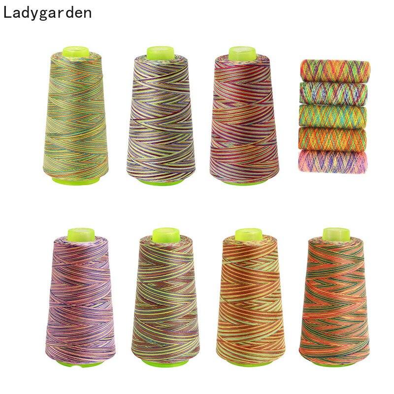 Hilo coser bordado 3000 yardas Arco Iris hilo de poliéster fuerte, duradero hilo para coser a mano artesanal 40s/2 hilos de coser