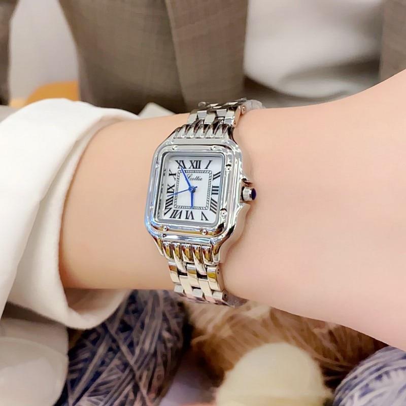 2021 New Roman Square Watches Women Stanless Steel Woman Wristwatch Ladies Rose Gold Watches For Women Clock Relogio Feminino
