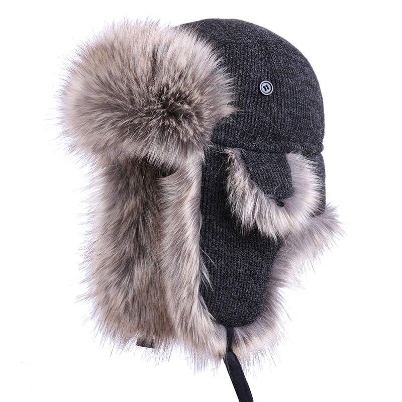Winter Bomber Hat Cotton Russian Ushanka Plush Earflap Trapper Hats Wool Aviator Pilot Trooper Cossack Faux Fox Fur Snow Ski Cap