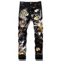 2021 autumn winter new mens slim pp wash jeans black print broken hole pants fashion paint print pants ripped denim