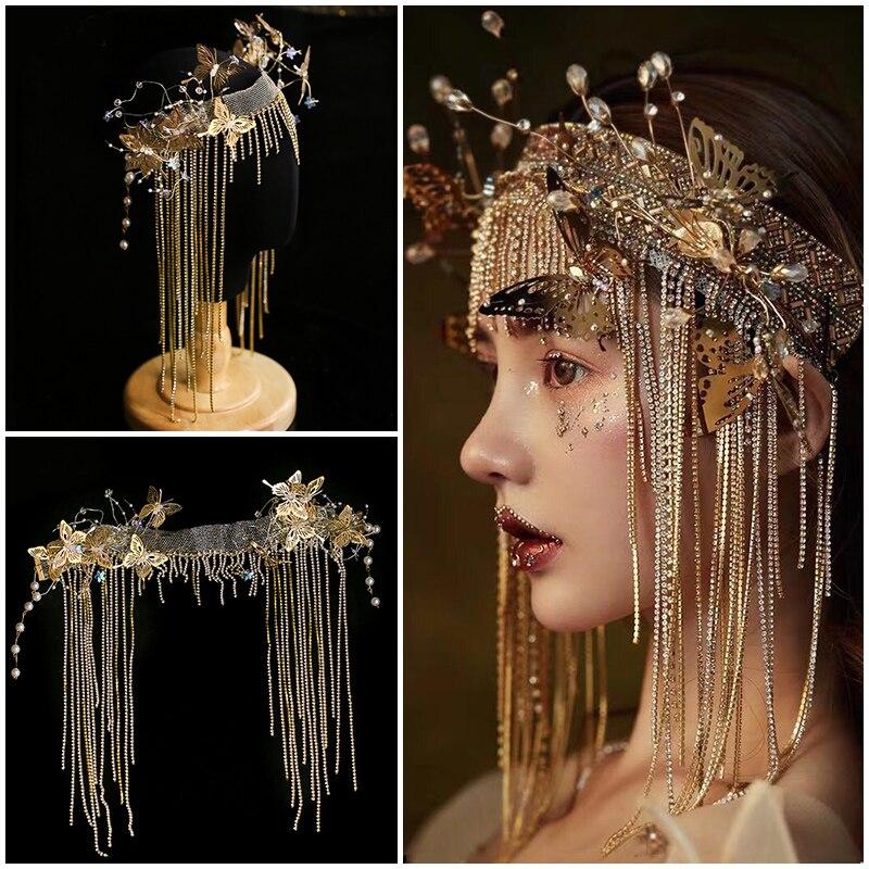 أغطية رأس معدنية عتيقة من القرون الوسطى ، إكسسوارات تمويه الزفاف ، طوق شعر ناعم ، فراشة ذهبية ، للمآدب