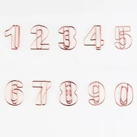 numbers from 0 to 9 special shaped office accessories paperclips rose gold stationery paper clips decorative cute paper clips
