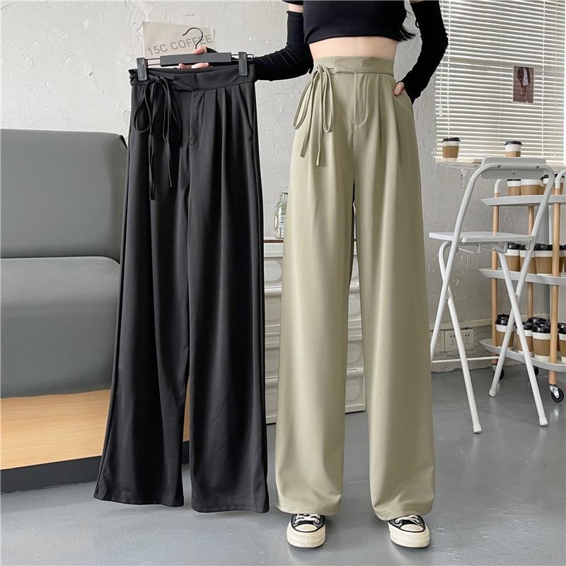 Drop Feeling Wide Leg Pants Autumn Korean 2021 New Design Feeling Drawstring High Waist Slim Loose C