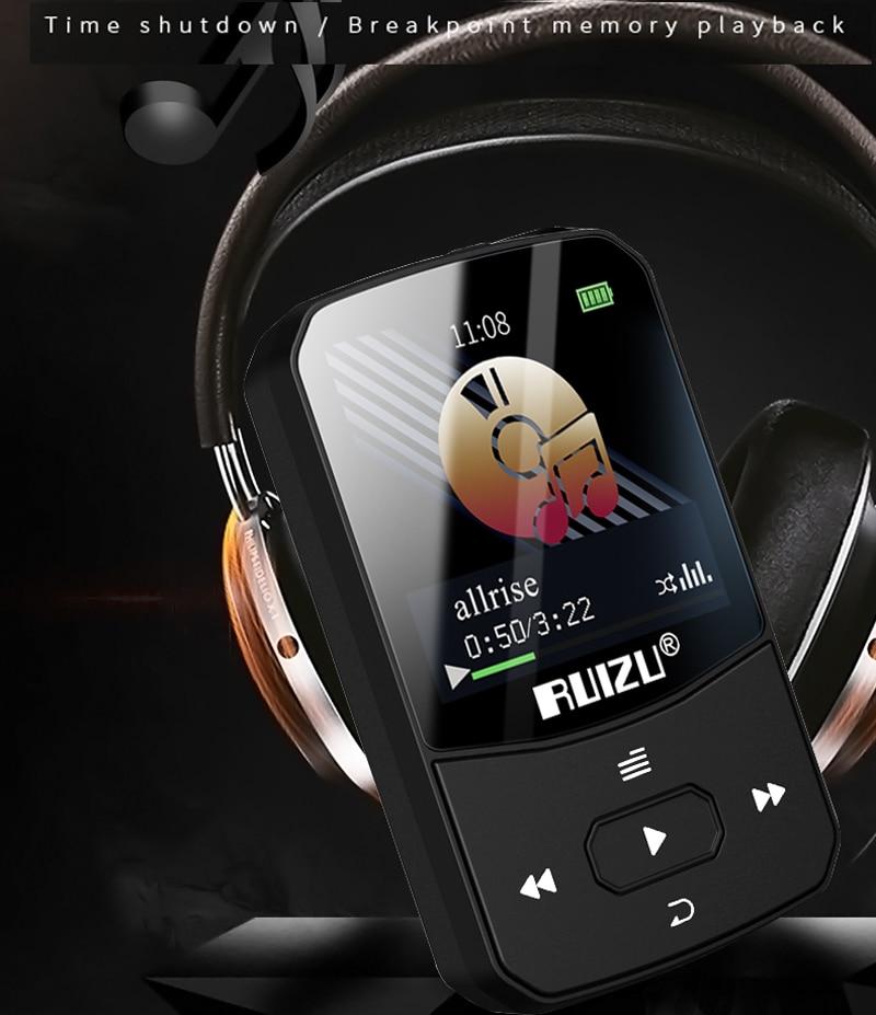 Nieuwe Ruizu X52 Sport Bluetooth4.2 MP3 Speler Clip Mini Ondersteuning Fm,