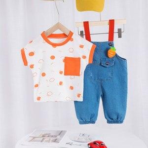 Summer 1-3Years Baby Boys Short Sleeves + Overalls Cute Style Big Pockets Elastic Leg Summer Clothing Set