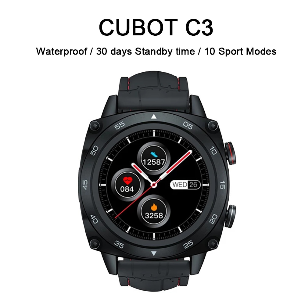 CUBOT C3 Men's Smart Watch Waterproof Touch Fitness Tracker Sports Smartwatch 260mAh Android IOS Call Messages Notification