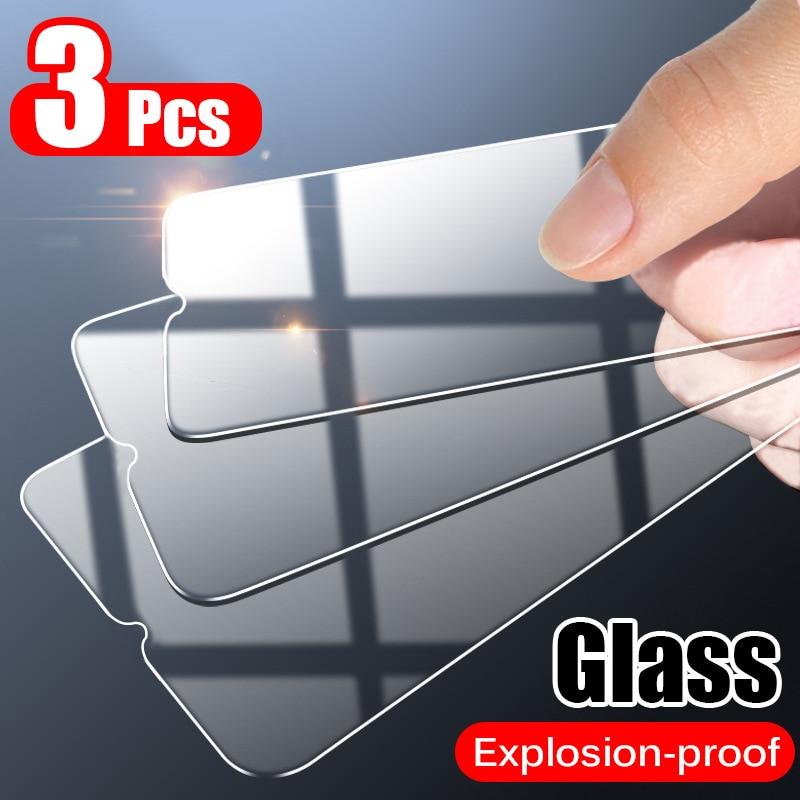 3 قطعة غطاء كامل الزجاج المقسى آيفون 11 برو X XR XS ماكس 12 برو ماكس حامي شاشة صغيرة ل آيفون 6 7 8 زائد فيلم الزجاج