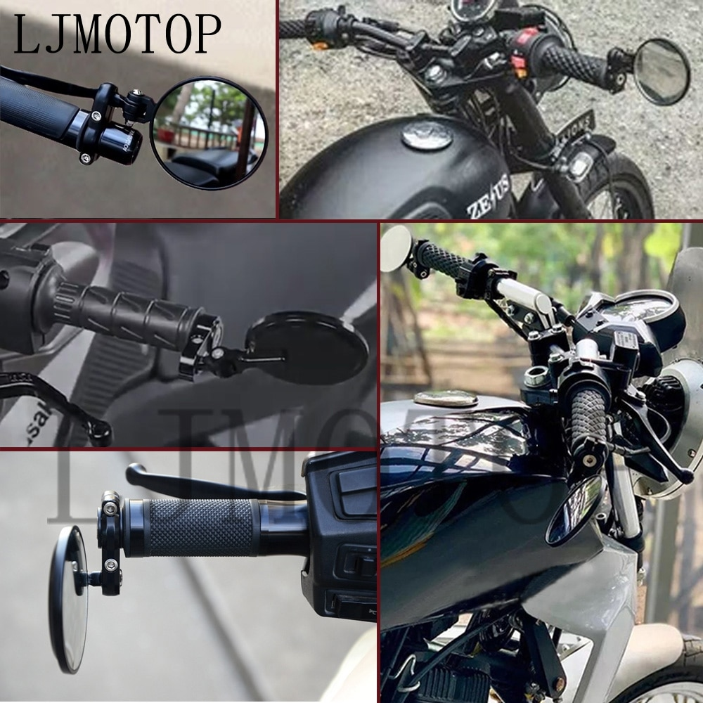 Universal Motorcycle Mirrors 3 Inch Round Folding Bar End Side Mirror for Honda Suzuki Yamaha Kawasaki Victory White Glass 2021