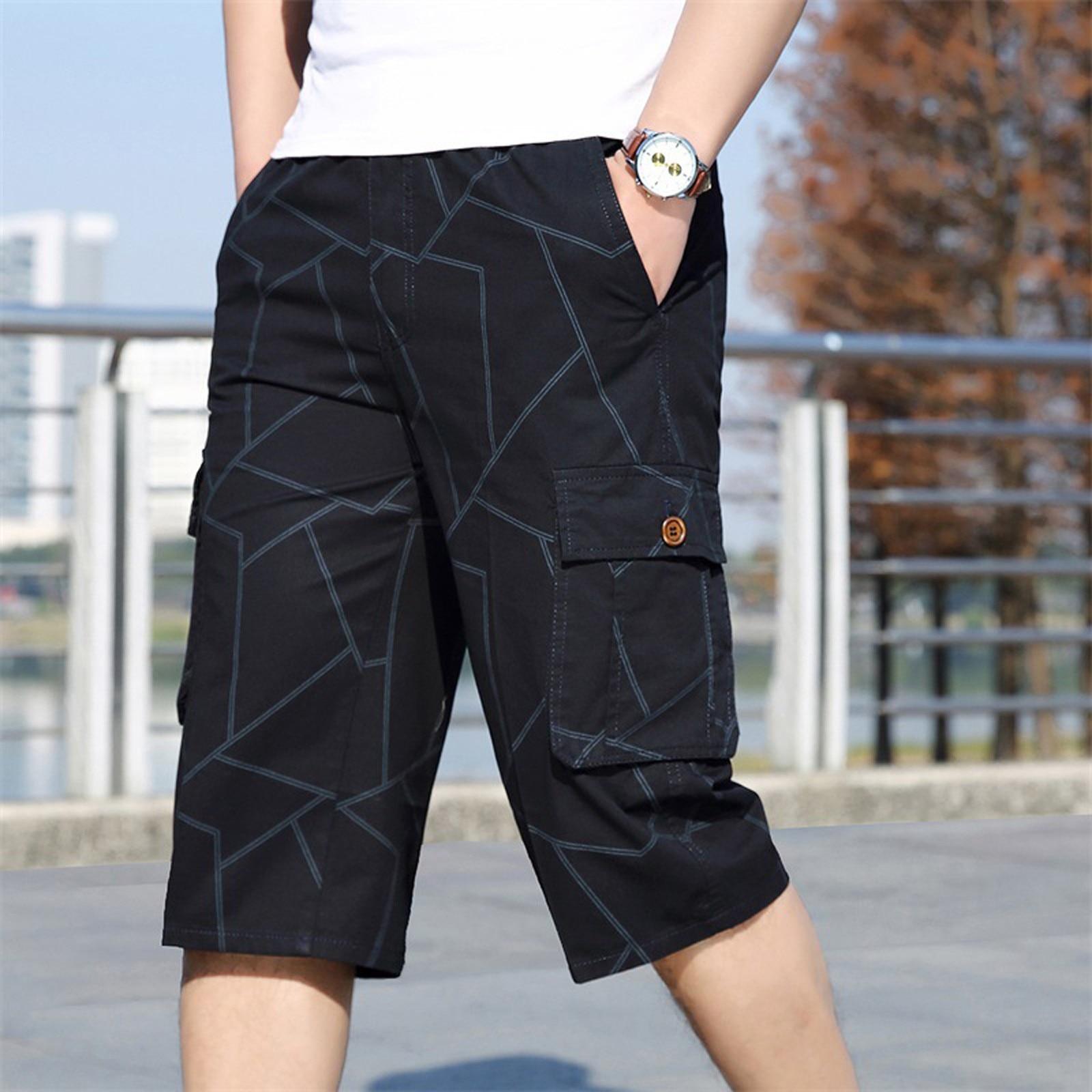 Мужские шорты-бермуды, быстросохнущие пляжные черные длинные шорты, мужские шорты, летние бриджи, 2021 тонкие брюки длиной 3/4