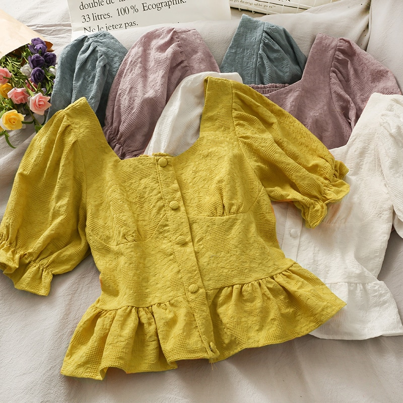 French Minority Ruffled Short Square Collar Small Shirt Female 2021 New Solid Color Single Breasted