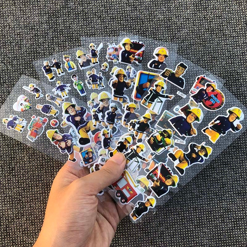 6 шт./лот 17 см 3 вида стилей мультфильм аниме Пожарный Сэм пузырчатая наклейка для детей ПВХ образовательная коллекция игрушек