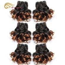 Extensiones de cabello humano extensiones de cabello rizado Remy Color indio crudo 1B/2/4/30/33/99J 6 unids/lote