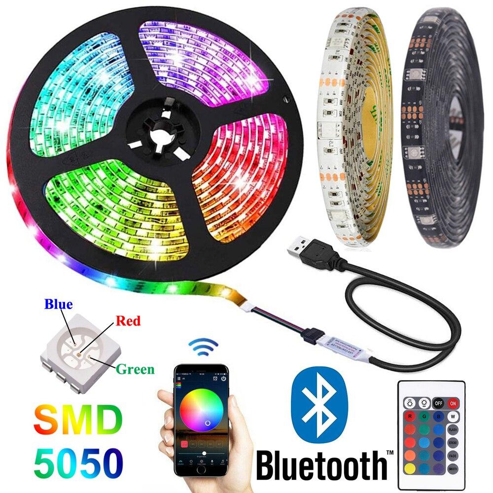 Bluetooth 5050 RGB LED Tira de luces DC 5V Tira USB de...