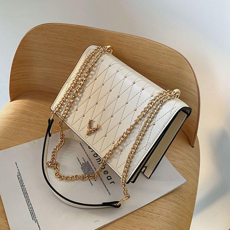 Pu Leather Crossbody Bags For Women 2020 Rivet Chains Shoulder Messenger Bag Female Ladies Hand Sling Luxury Handbags Designer