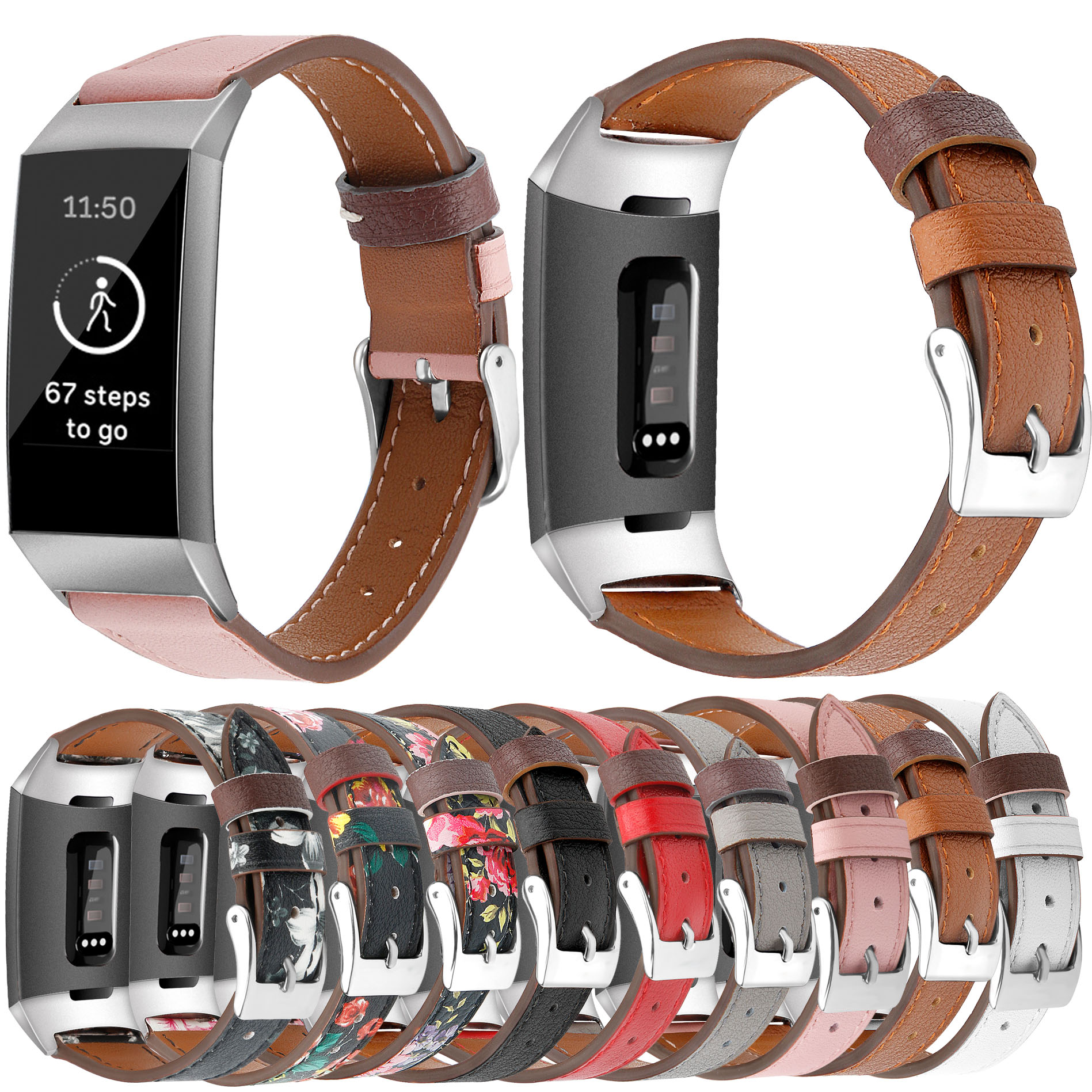 Essidi For Fitbit Charge 3 4 Leather Band Women Men Smart Bracelet Replacement For Fitbit Charge 3 4