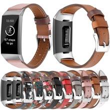 Essidi-Correa de cuero para reloj Fitbit Charge 3 y 4, repuesto de pulsera inteligente, para hombre y mujer