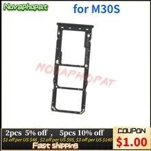 Novaphopat 10Pcs/Lot For Samsung M30S SIM Card Tray Holder M307F Micro SD Slot Socket Adapter Dual S