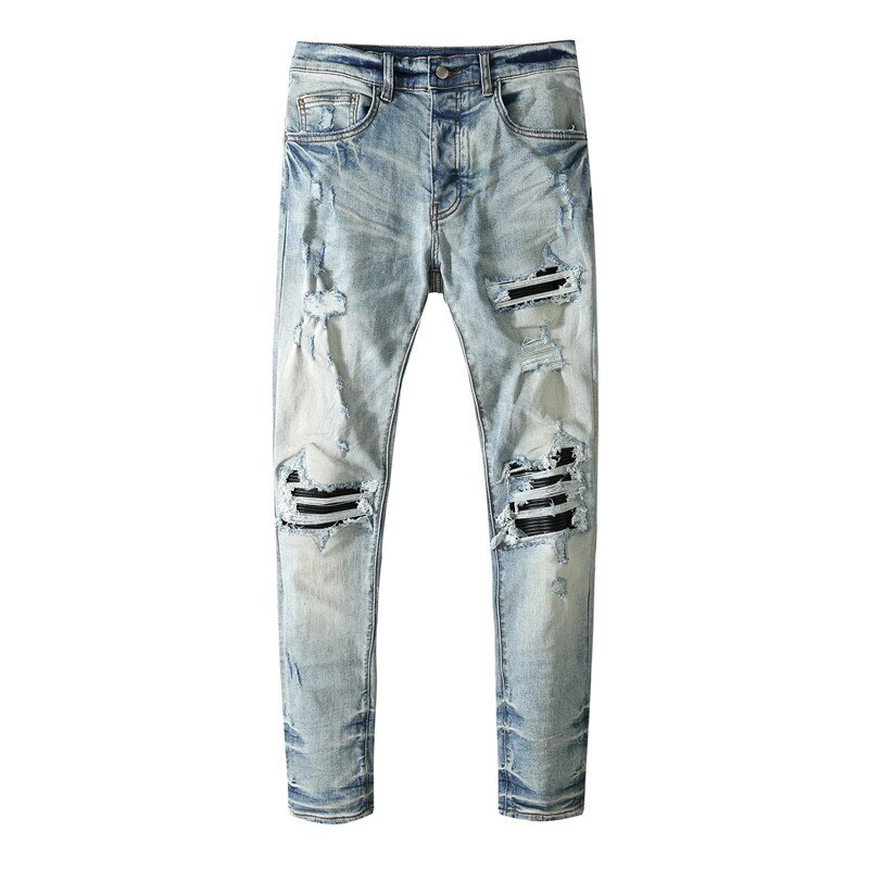 American Famous Brand AMR 2021ss Washed Splicing Ripped Jeans Leather Patched Men Trousers Pants Streetwear Men's Clothing