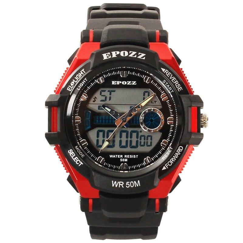 Epozz relógio esportivo masculino, para homens, pulseira de borracha, à prova d água, resistente a choques, alarme grande, relógio masculino 1306