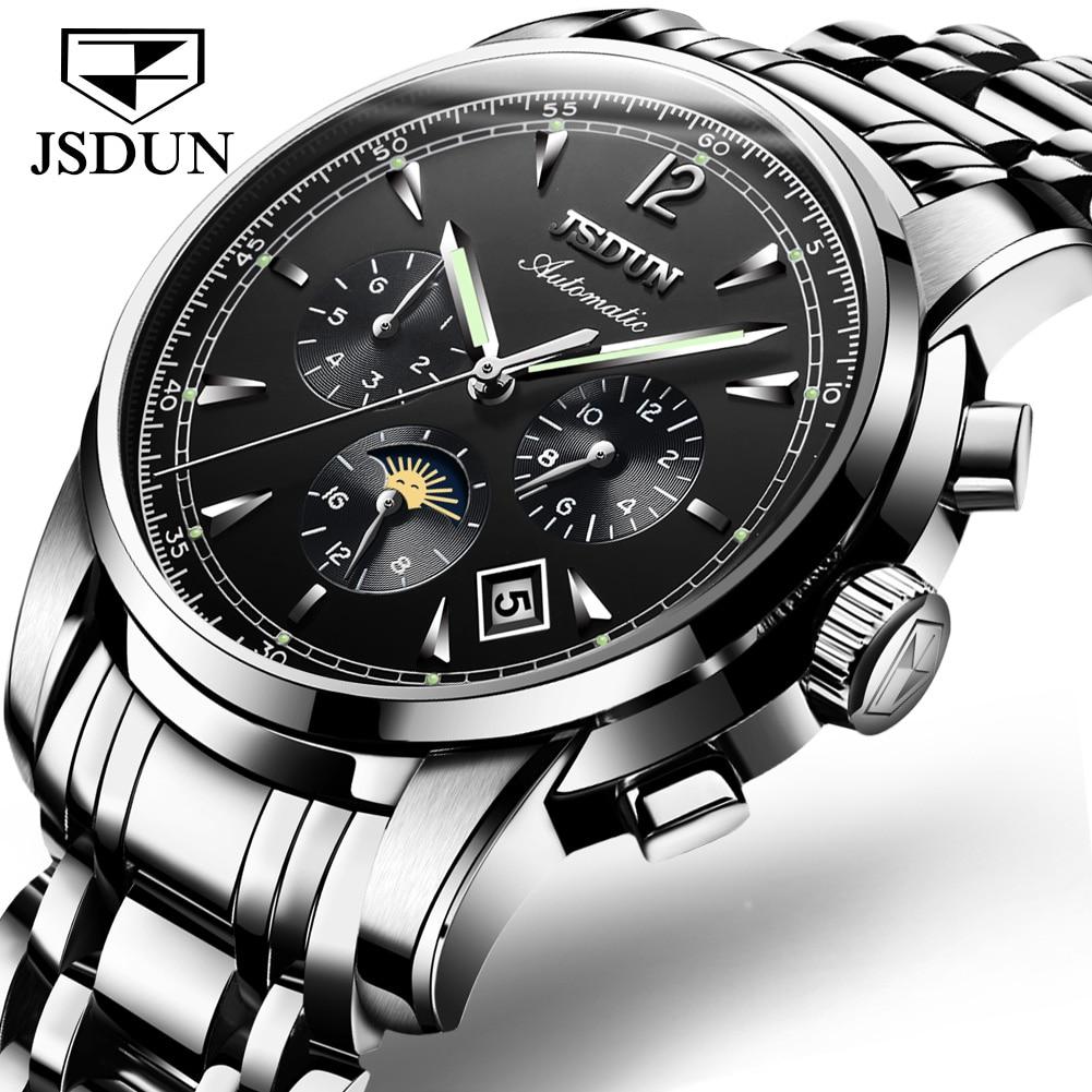 JSDUN أفضل العلامة التجارية الفاخرة ساعة أوتوماتيكية الرجال ساعات آلية الياقوت الفولاذ المقاوم للصدأ مقاوم للماء ساعات المعصم Relogio Masculino