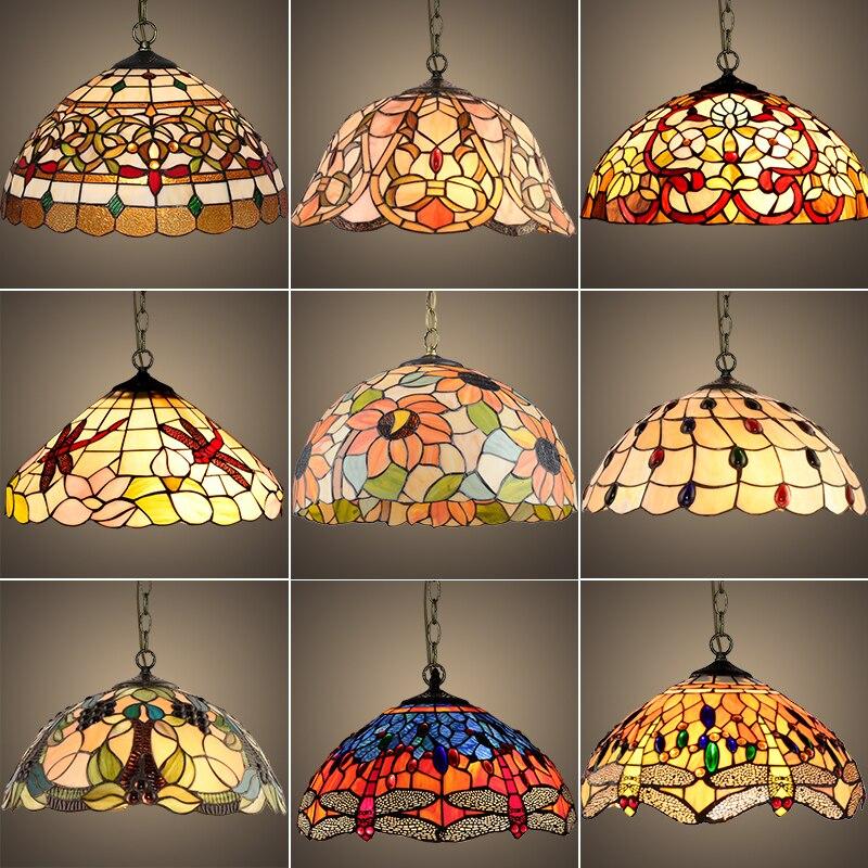 Luminaria suspendida de vidriera barroco de Тиффани E27, lámpara colgante de cadena-де-Йерро светодиодный, lámpara де iluminación para