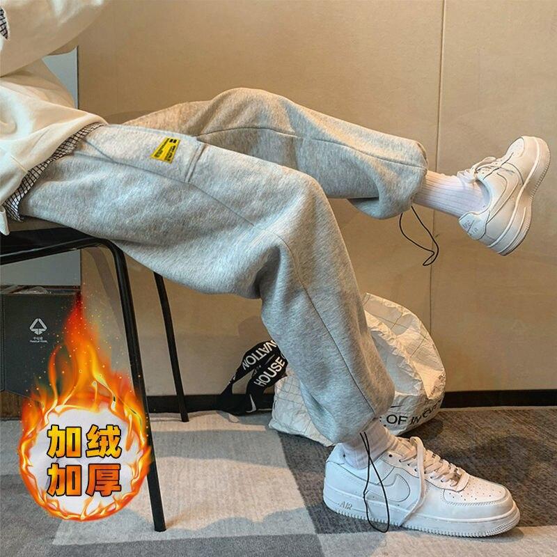 Мужские флисовые брюки E-BAIHUI, новинка 2020, зимние шаровары в стиле хип-хоп, мужские джоггеры, брюки до щиколотки, мужские повседневные мешкова...