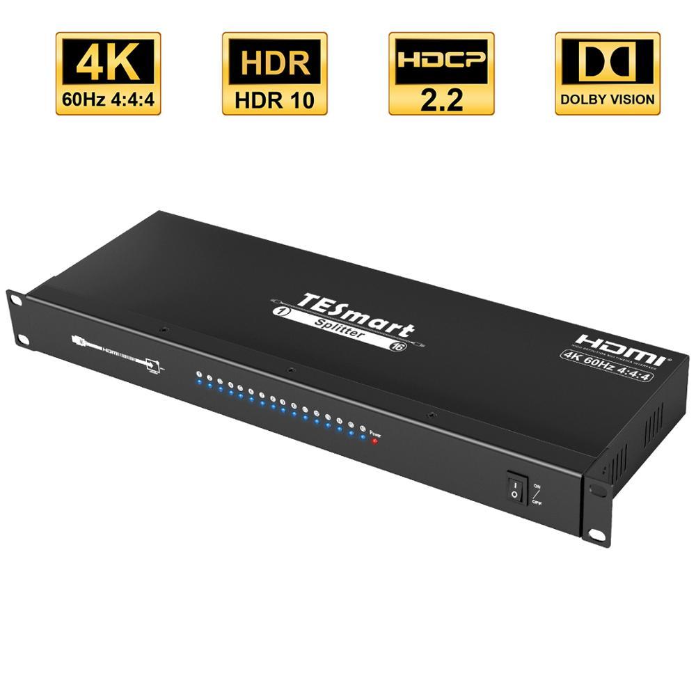 4k مقسم الوصلات البينية متعددة الوسائط وعالية الوضوح (HDMI) 16 منافذ HDMI 1In 16 خارج HDCP2.2 دعم 3840*2160 @ 60Hz الفاصل