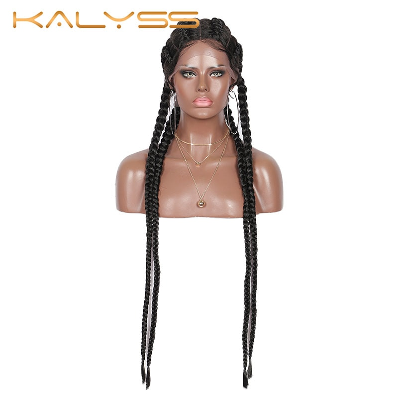 Kalyss 31 Inches Cornrow Braids 360 Lace Front Synthetic Wig Double Dutch Box Braids with Baby Hair for Black Women