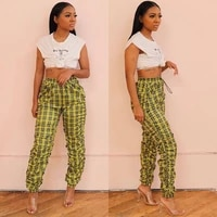 women casual stacked pants trousers personality plaid printing slim fit high waist pleated beam feet pants fashion clothes