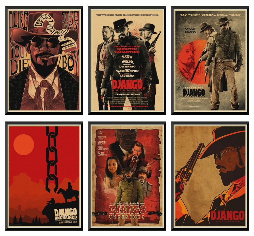 classic-movie-django-unchained-quentin-tarantino-retro-poster-kraft-paper-for-home-decorhome-wall-decor-painting-42x30cm