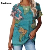 women elegant leisure casual t shirt trend world map print tees clothing plus size femme the top 2021 summer model t shirt