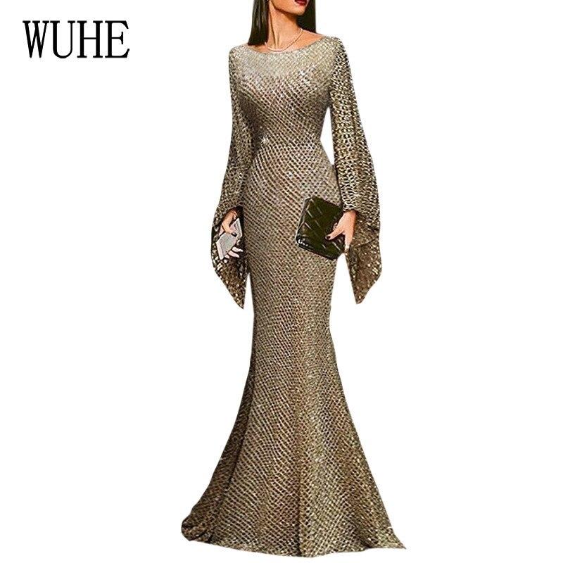 WUHE largo lentejuelas elegante vestido largo cuello redondo manga completa lentejuela brillante Maxi vestido elegante elástico ceñido al cuerpo Vestidos de fiesta
