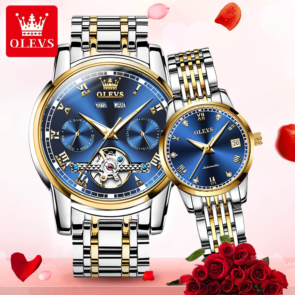 OLEVS Luxury Lover Watches Couple Watch Set Automatic Mechanical Watch Men And Women Paired Watch Fo