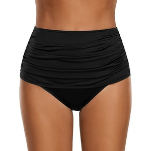 Women's Solid High Waisted Bikini Swimsuit Comfortable Swimming Bottom Ruched Swimwear Cozy Swim Brief купальные шорты A20