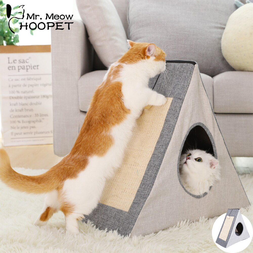 Hoopet pet gato cama dobrável casa do gato quente caverna canil para cachorro casa dormir canil teddy confortável casa kat cama